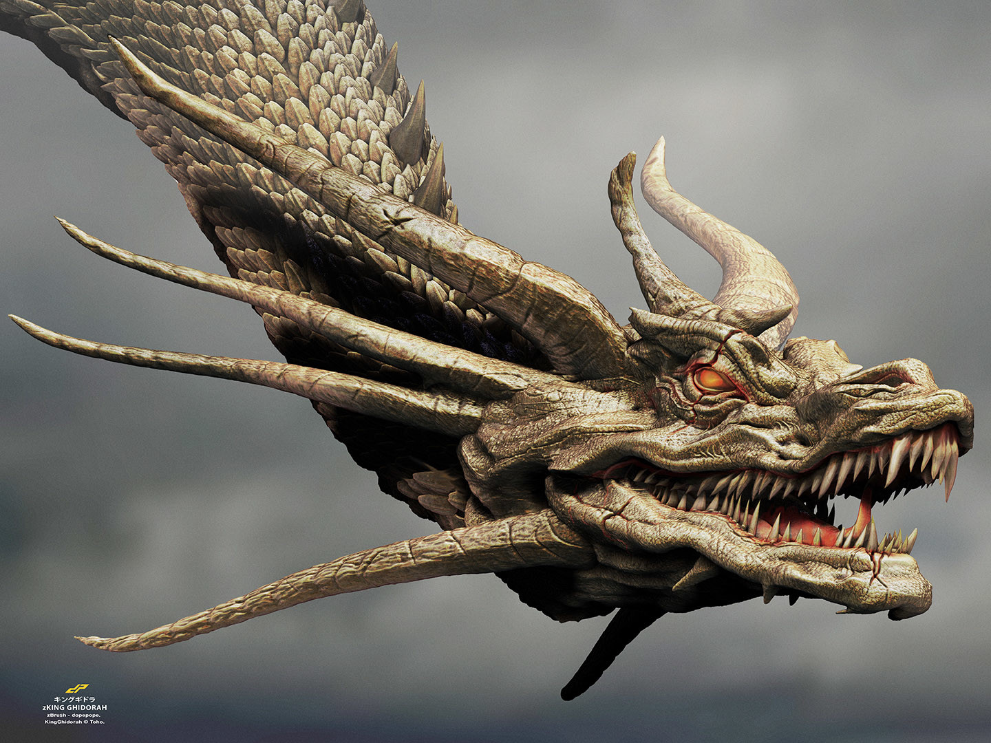 Dope pope zghidorah head by dopepope