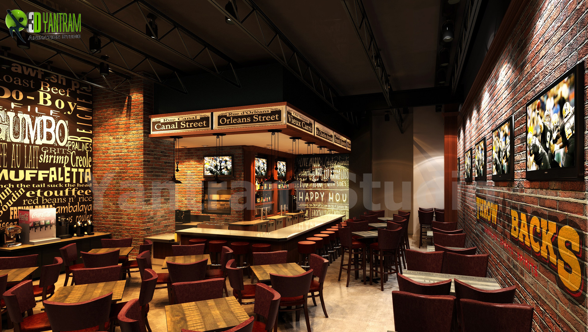 Artstation Stunning Modern 3d Bar Interior Design View Yantram Architectural Design Studio