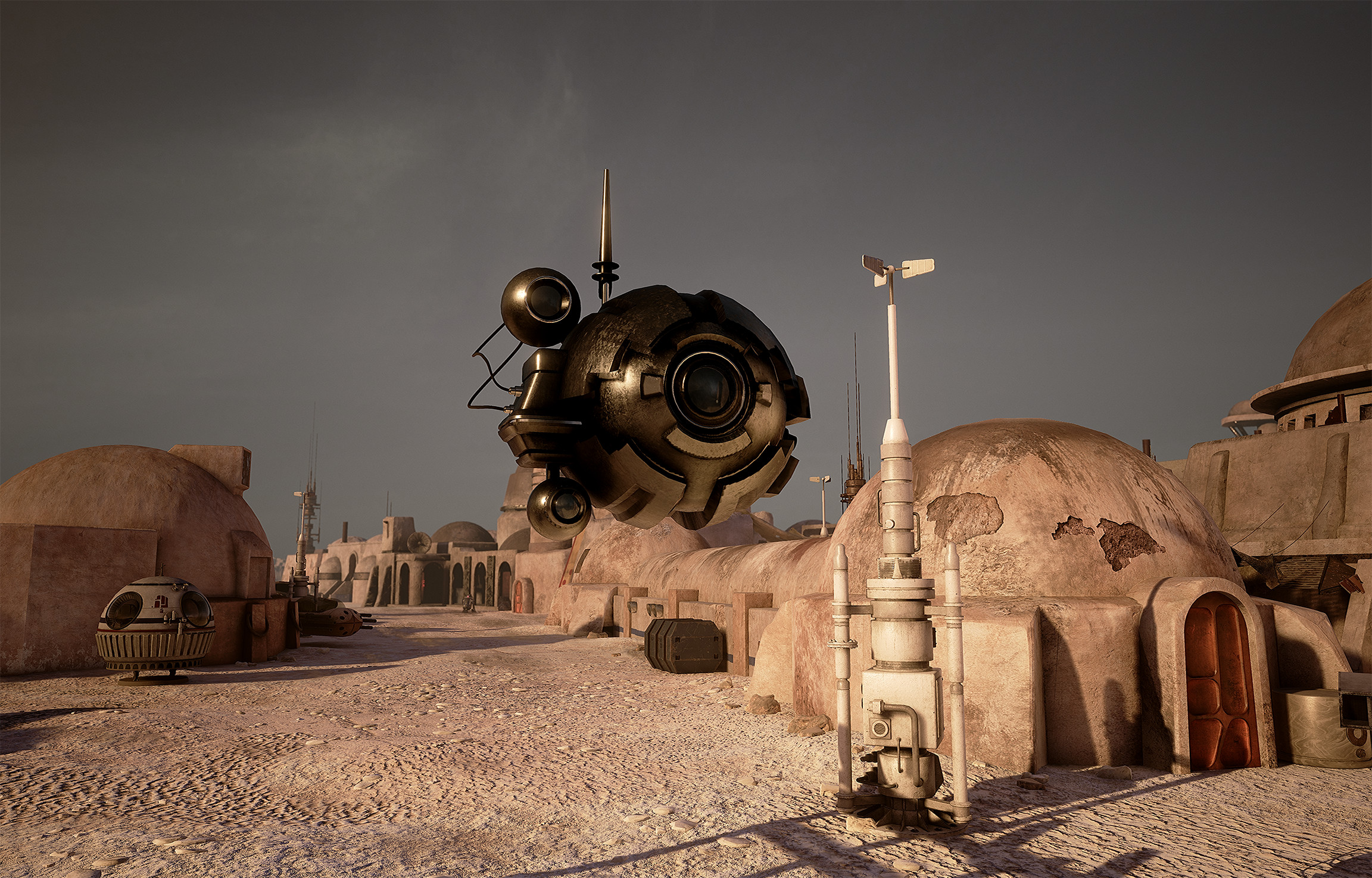 Scout Droid: model, textures, shader Buildings: model, textures, shader