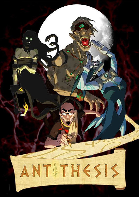 """Antithesis - unexistent video game cover art. Dark mythological creatures oppose the player/protagonist. His mission is to """"write"""" the Odyssey by living the life of Odysseus like an RPG."""