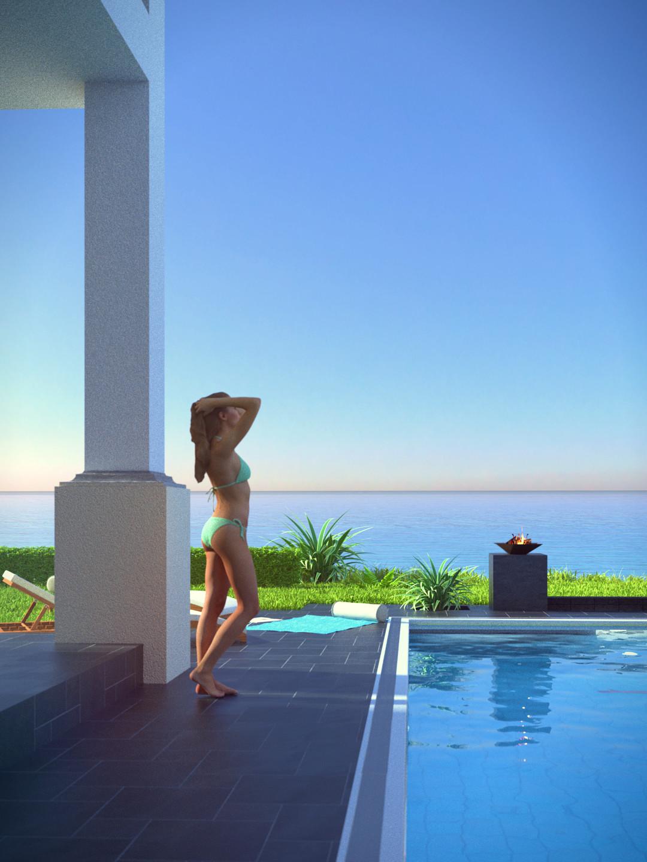 SketchUp + Thea Render  Seagrove Beach House: Poolside 05 2pt Vert 43 D Lumina Rise 1080 × 1440 Presto MC Bucket  Model female by Renderpeople found here. https://renderpeople.com/3d-people/julia-0269/