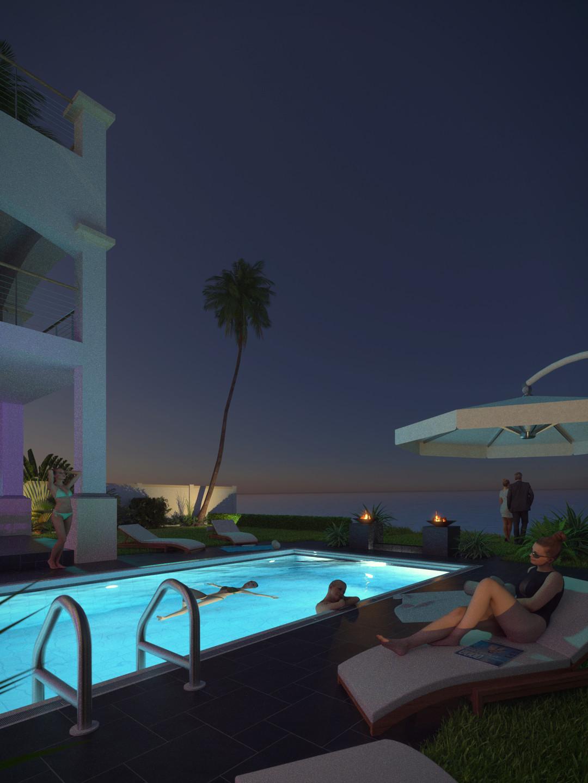 SketchUp + Thea Render  Seagrove Beach House: Poolside 01 Vertical 1080x1440 Night C Glare Lumina 1080 × 1440 Presto MC Bucket