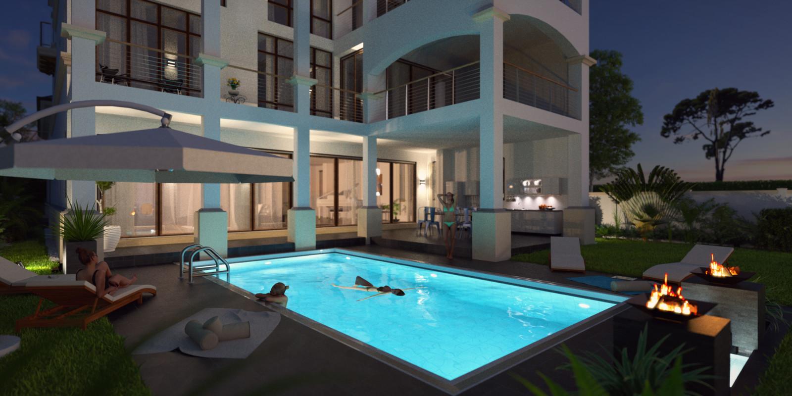SketchUp + Thea Render  Seagrove Beach House: Poolside 03 2pt Night C Glare 02 Karl 2160 × 1080 Presto MC Bucket