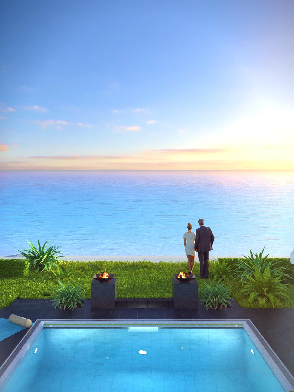 SketchUp + Thea Render  Seagrove Beach House: Poolside 04 2pt Vertical 4-3 Day C Lumina Sun 1080 × 1440 Presto MC Bucket