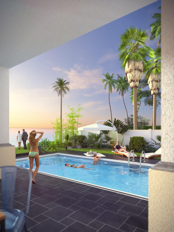 SketchUp + Thea Render  Seagrove Beach House: Poolside 6A Vertical 4-3 Day A Lumina Early 1080 × 1440 Presto MC Bucket