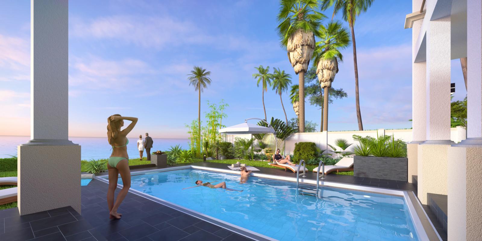 SketchUp + Thea Render  Seagrove Beach House: Poolside 6C B Lumina Early 2160 × 1080 Presto MC Bucket
