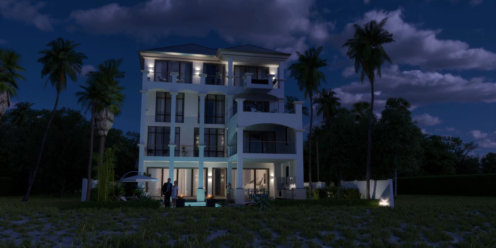 SketchUp + Thea Render  Seagrove Beach House: Scene 1 Night C Glare Bob 2160 × 1080 Presto MC Bucket  HDR used (HQ version) by @HDRI-SKIES http://hdri-skies.com/shop/hdri-sky-162/