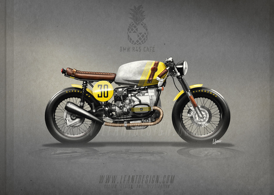 artstation bmw r45 cafe racer pineapple bartosz. Black Bedroom Furniture Sets. Home Design Ideas