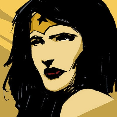 Andre stahlschmidt wonder woman head sketch and color tryouts