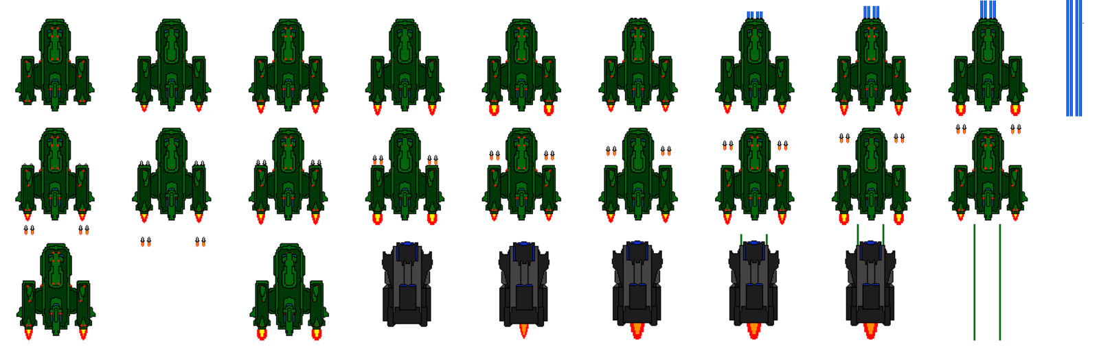 Sprite sheet for both the player and enemy ships.