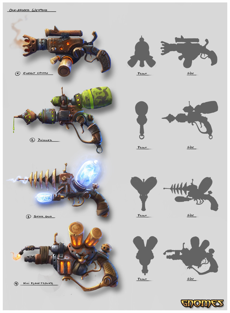 Max hugo gnomes one handed weapons concept