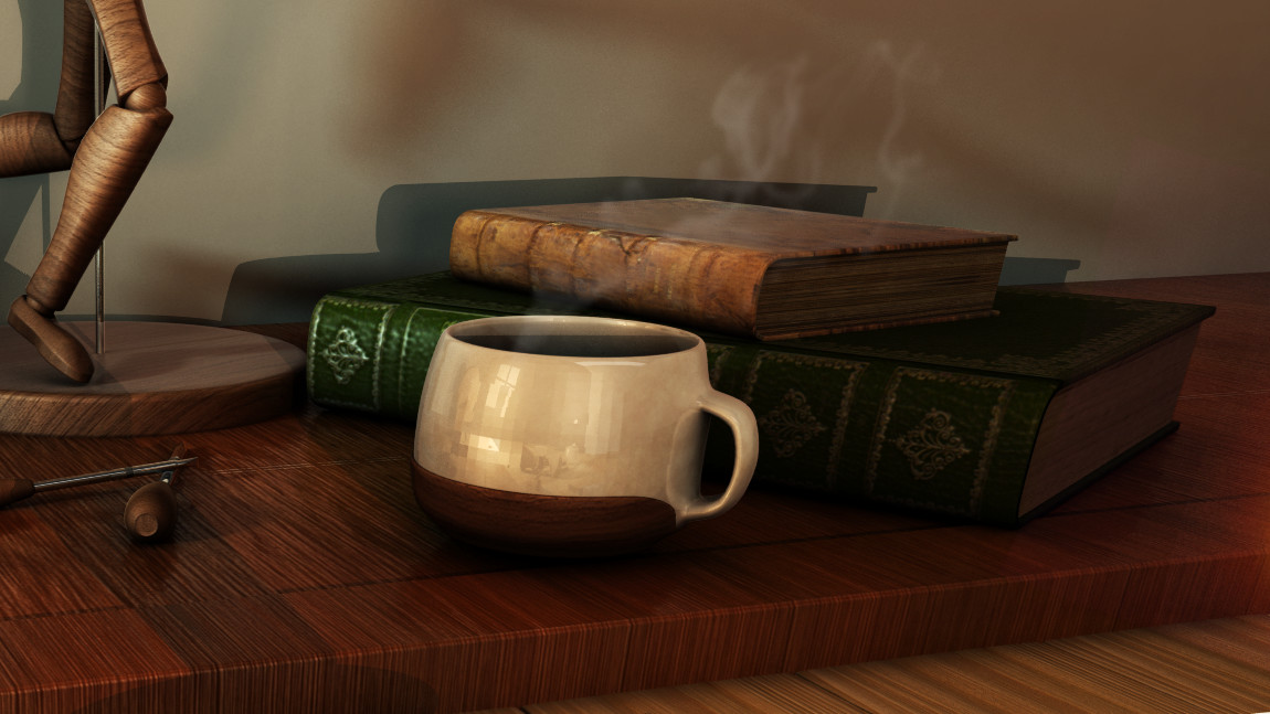 "The Coffee Mug, a companion for the night workers. at the background you see the study books and a mounted dummy, showing that the human (a ""hiden character"") is specialized on fixing dummies"