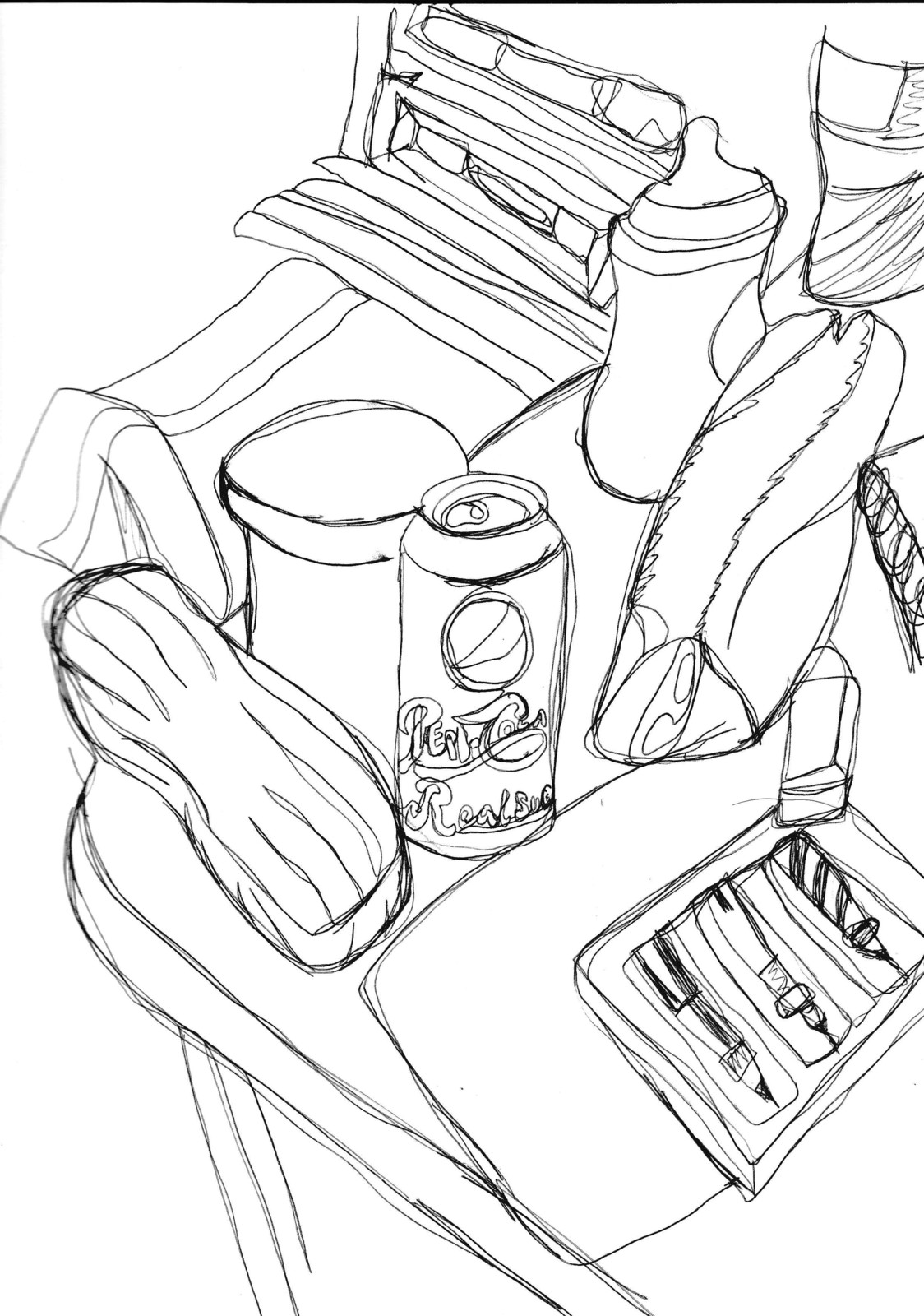 Continuous lines of a folding table with an eyeglass case, diaper rash cream, pepsi can, paper, coaster, eraser, pencil case, baby bottle, water bottle, and planner on it. Behind it on the floor is a towel and a dresser.