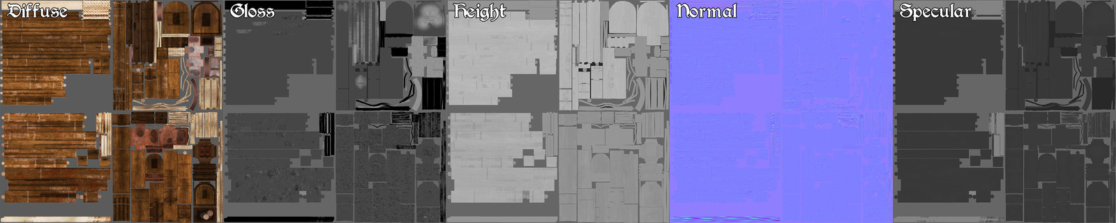 Foremast Crossbeams, Foremast, Mainmast Crossbeams and Mainmast Textures