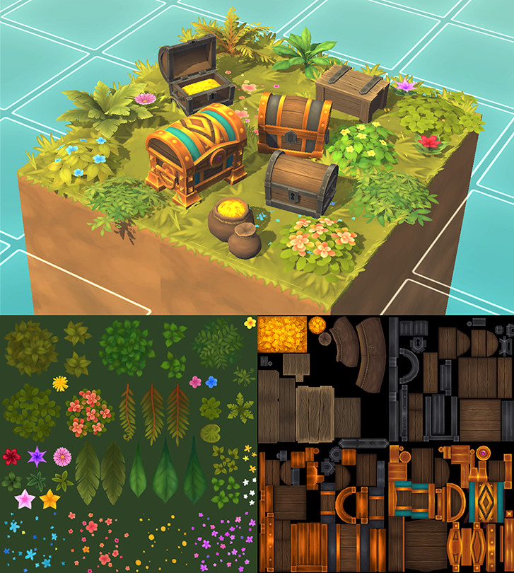 ArtStation - Hand painted textures for Isometric Pack