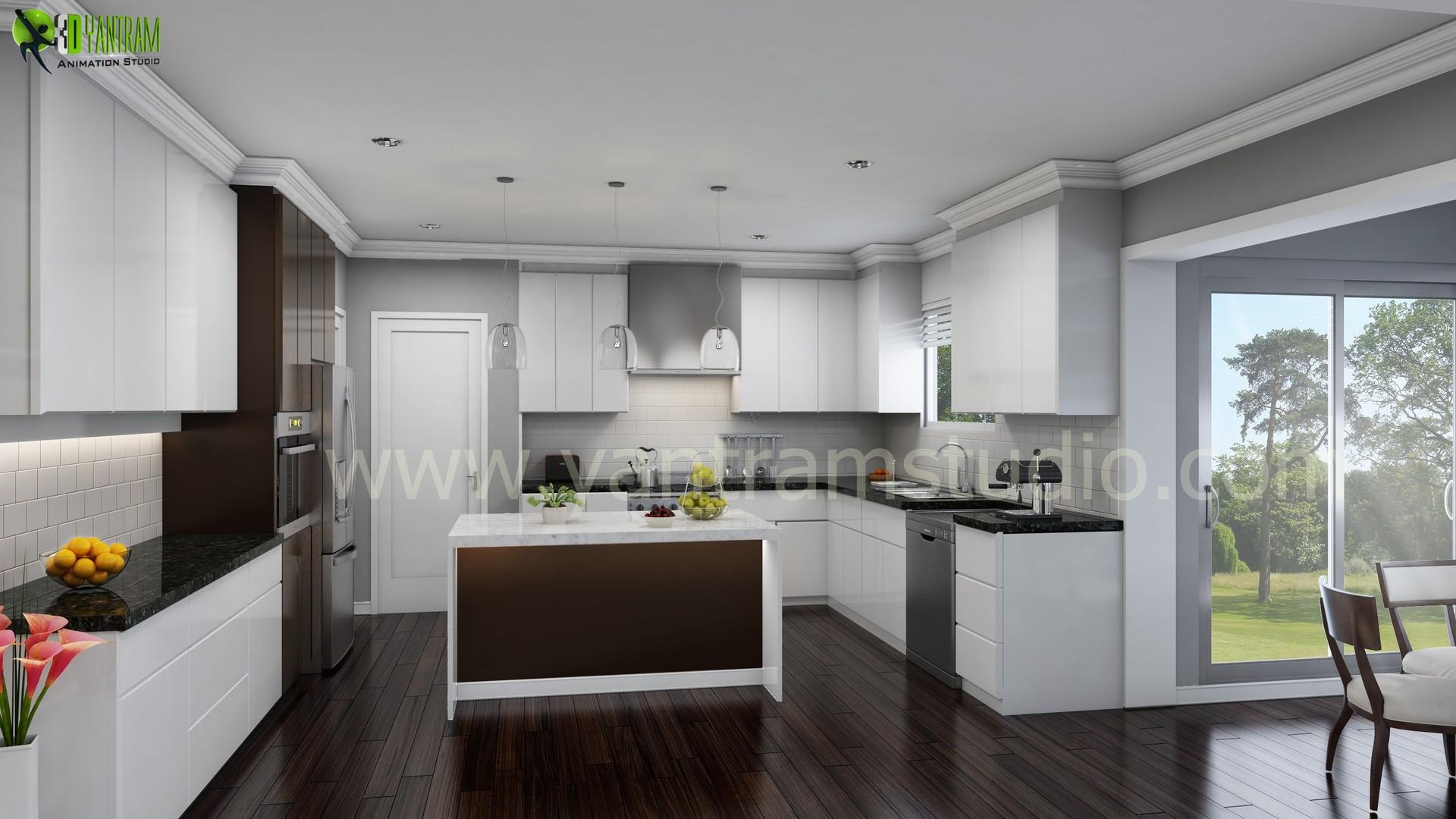 Artstation Modern 3d Kitchen Interior Design Paris Yantram Architectural Design Studio