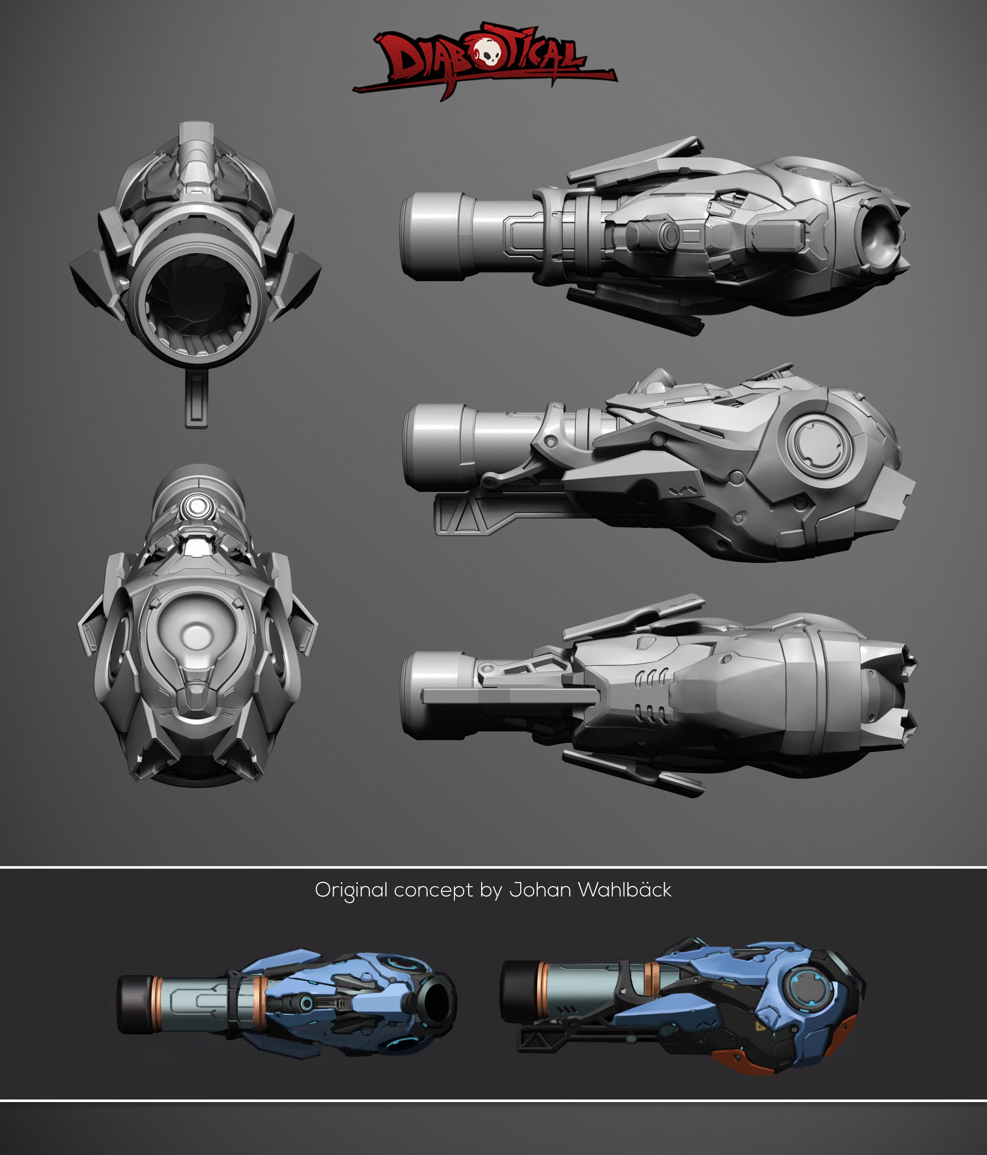 Omar chaouch rocket launcher sculpt render diabotical