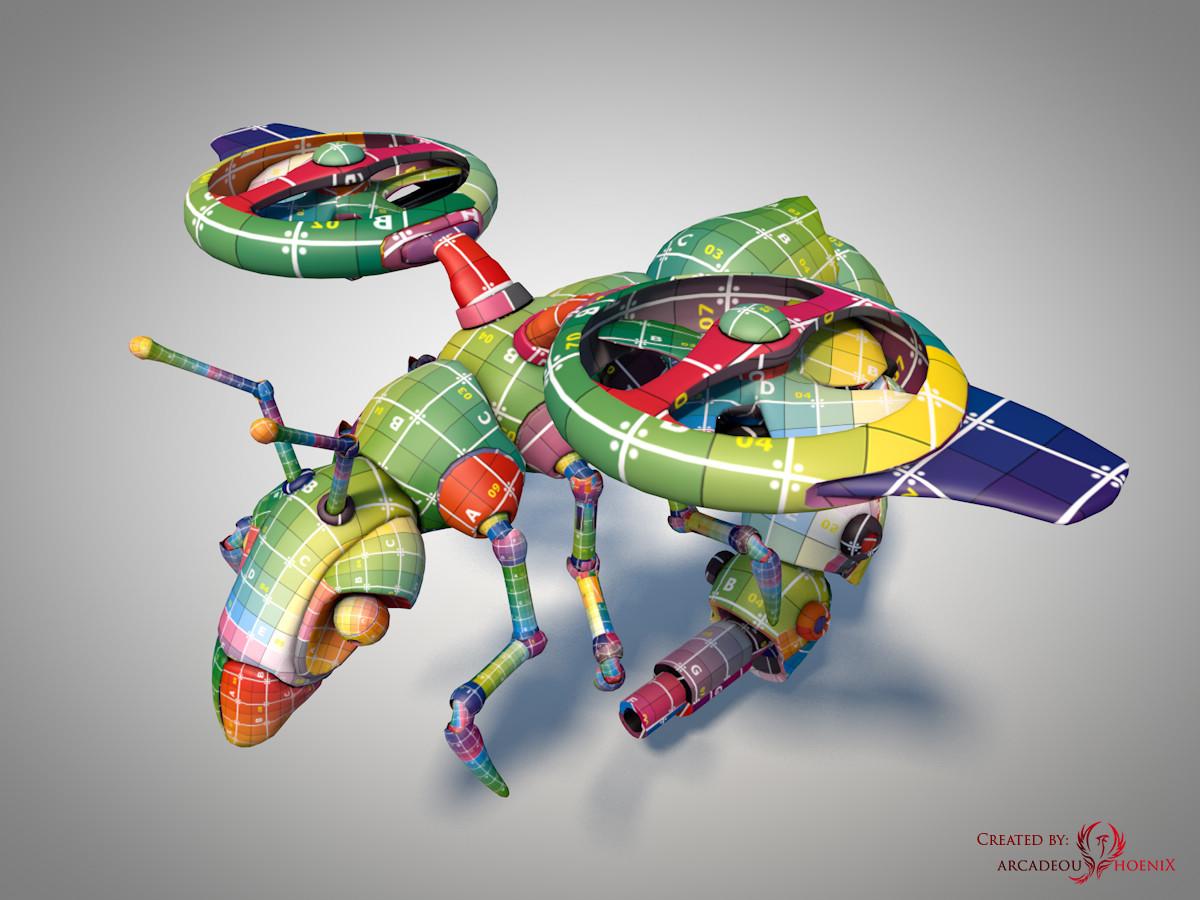 Arcadeous phoenix surveillance wasp complete uv mapped a
