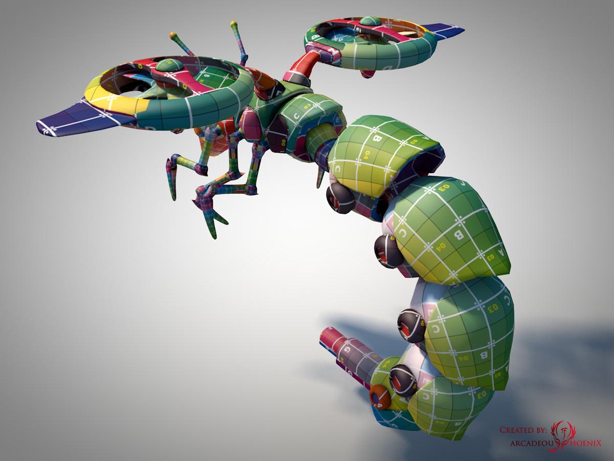 Arcadeous phoenix surveillance wasp complete uv mapped c