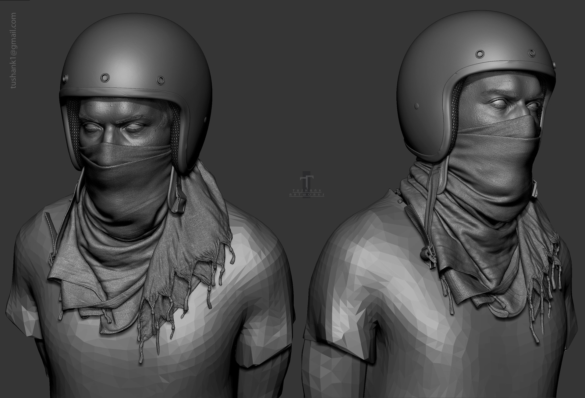 Tushank k jaiswal bust grayscale