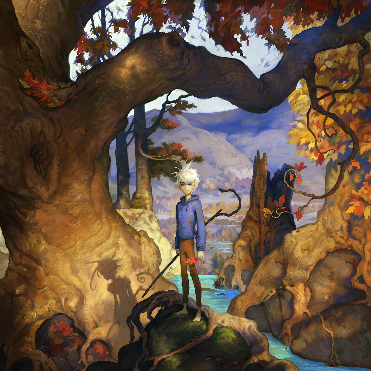 The boy, Jack Frost, bringing the change of seasons