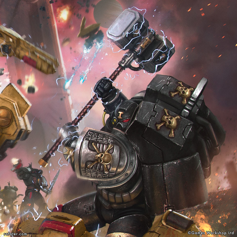 Rafael teruel deathwatch vs taubattlesuits close up warhammer by rafater