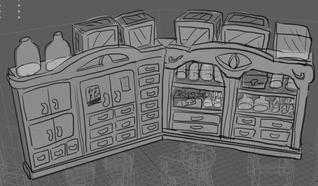Shelf concept. I wanted to capture the feel of a traditional chinese medicine shop, with lots of little drawers of herbs, combined with the all-seeing eye motif