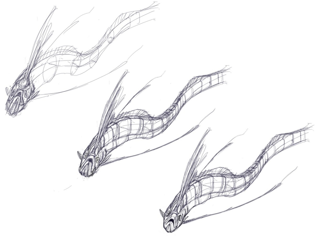 A few iterations building up to the final version, always maintaining the curvature lines to visualize its body in 3D