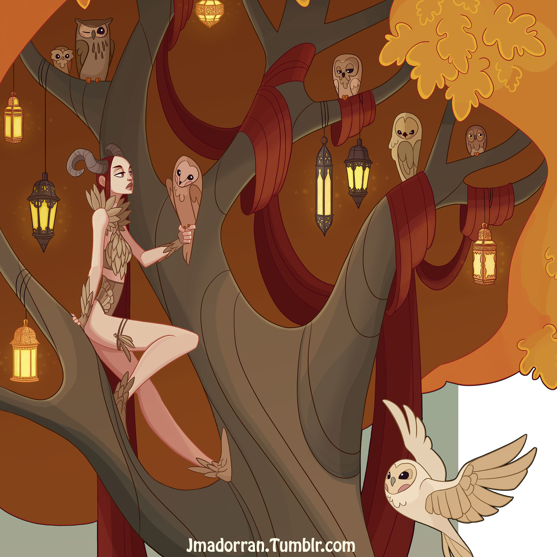 Jessica madorran character design fall tree 2016 blog closup 01