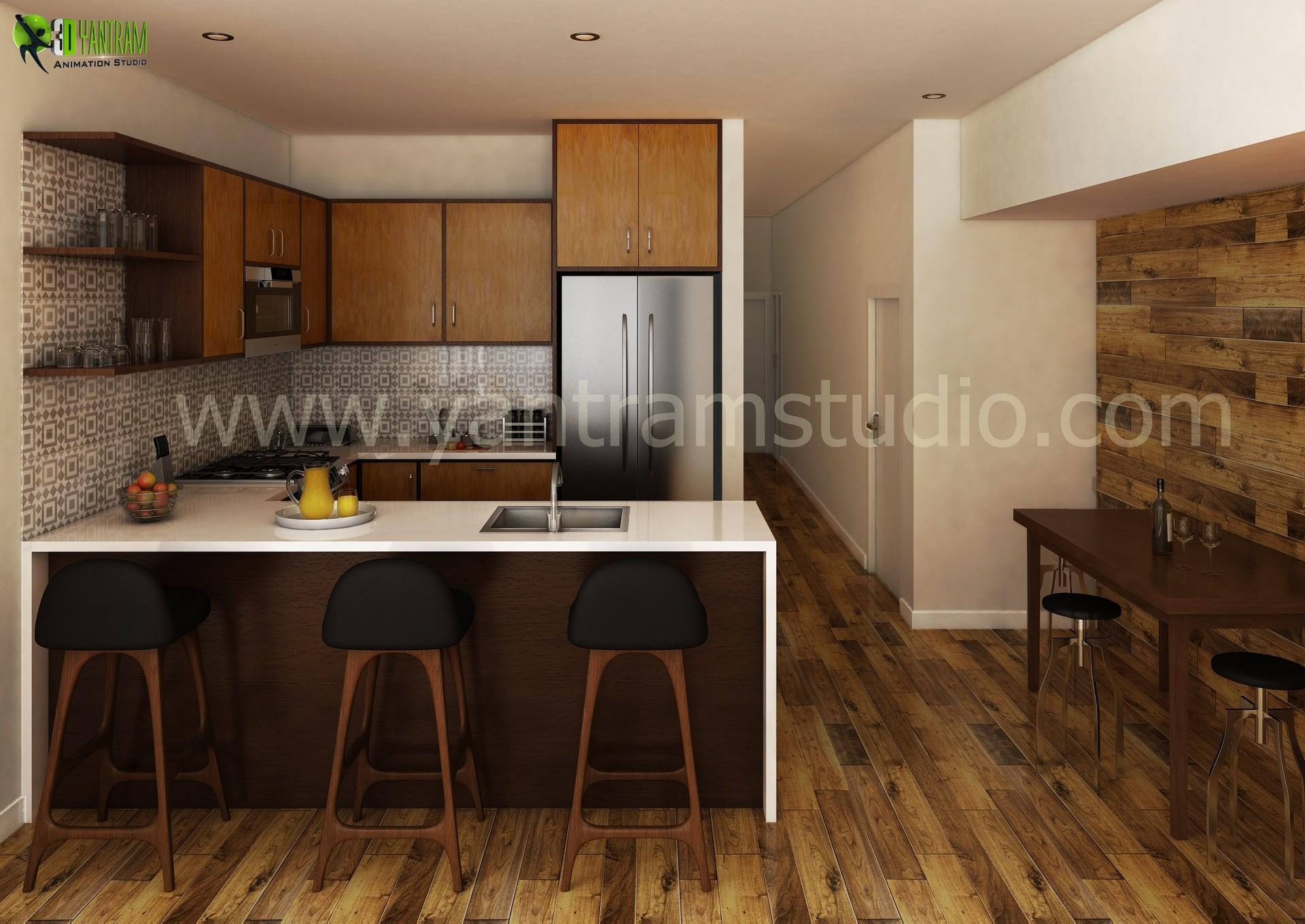 Artstation Awesome New 3d Kitchen Interior Design Dubai Yantram Architectural Design Studio
