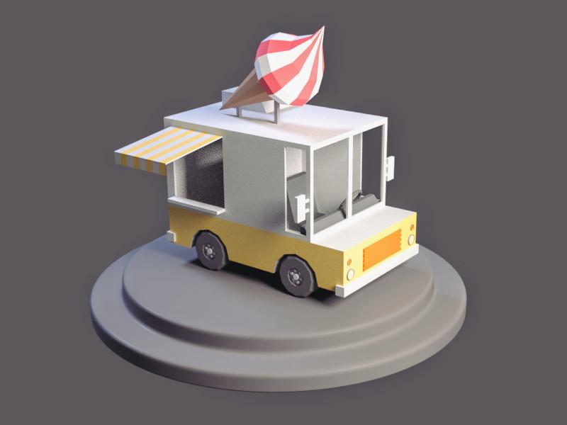 ArtStation - Lowpoly Ice Cream Truck, Joao Paulo