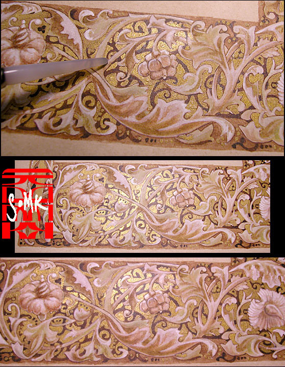 Different tilt and views of the gold powder before and after burnishing