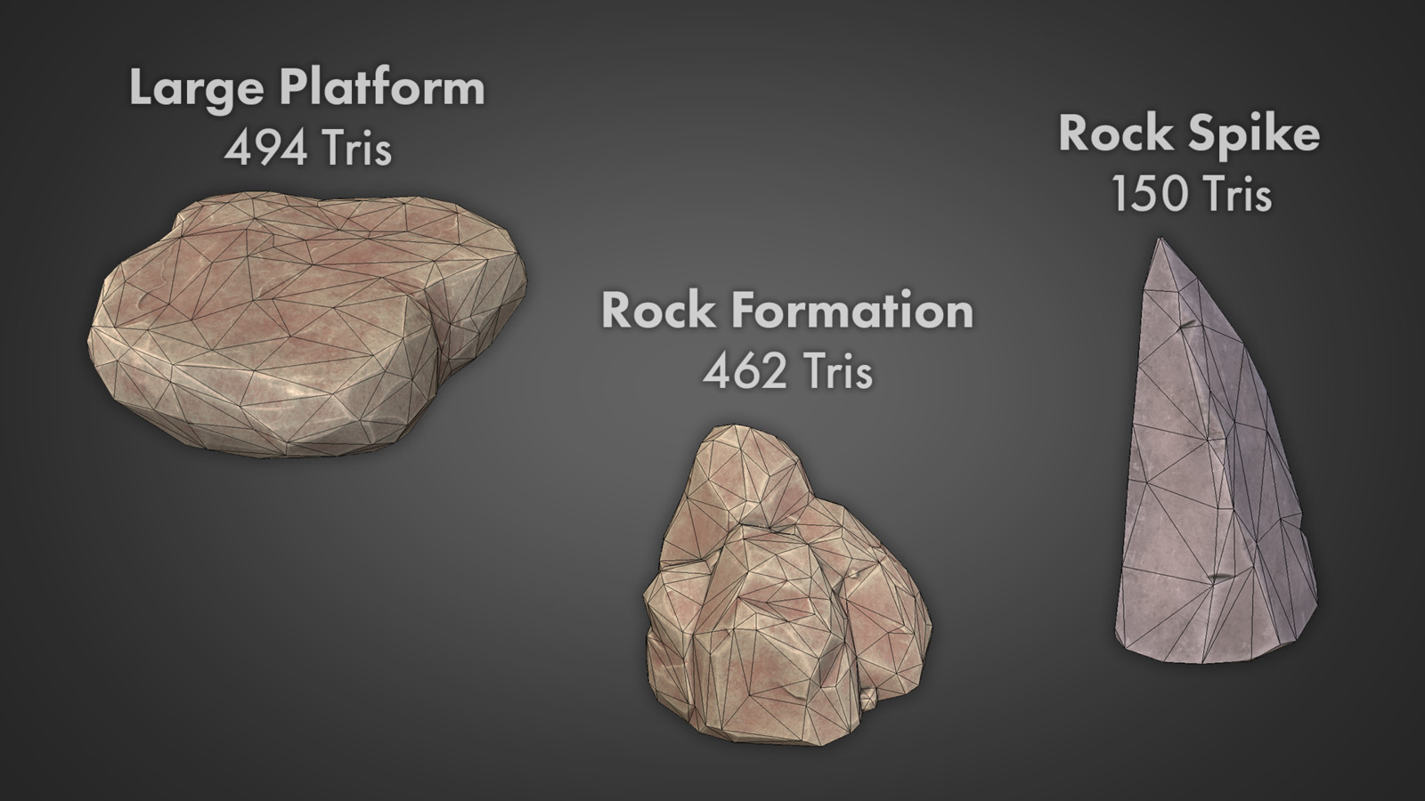 Since the majority of the environment is rock, I made several rock assets that weren't too uniform so I could re-use them in every level.