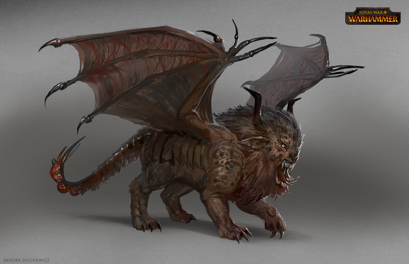 One of many sketches of manticore.