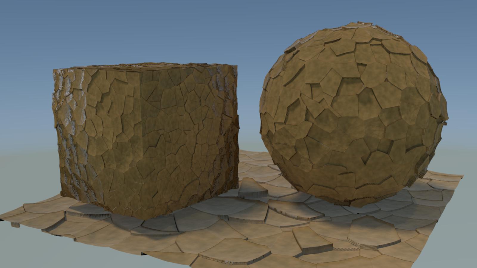 first render; much darker and more displacement.