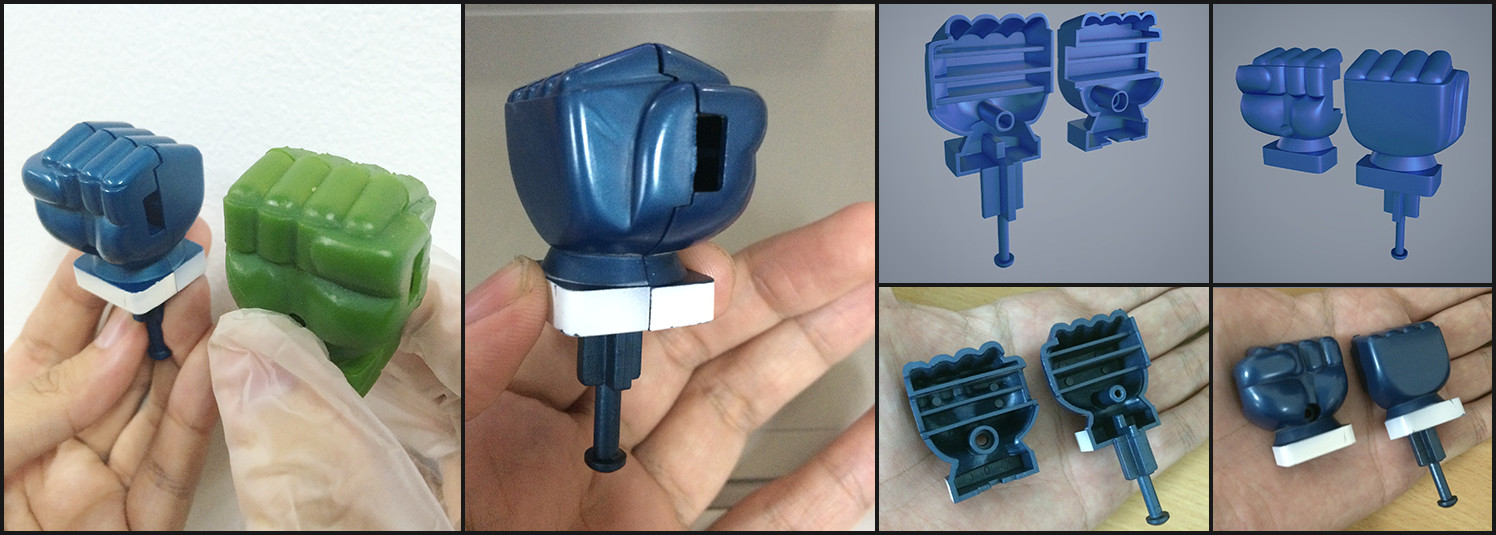 Result of 3D printing and the result of real & 3d objects.
