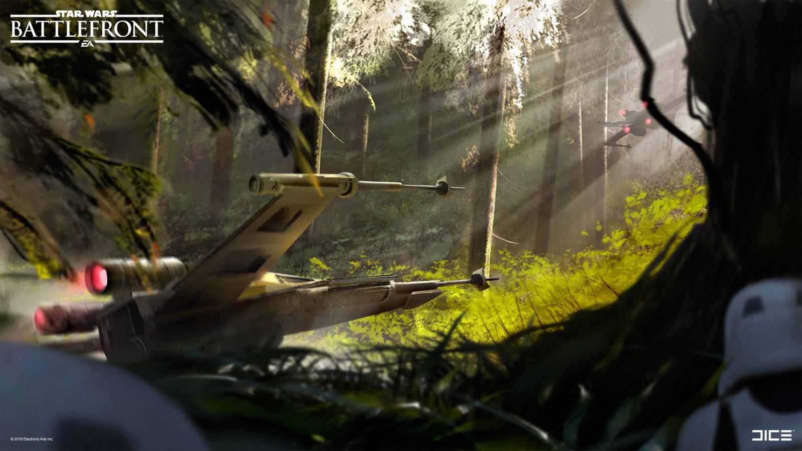 Endor exploration Concept Art for the 2015 Star Wars Battlefront game. (2013)