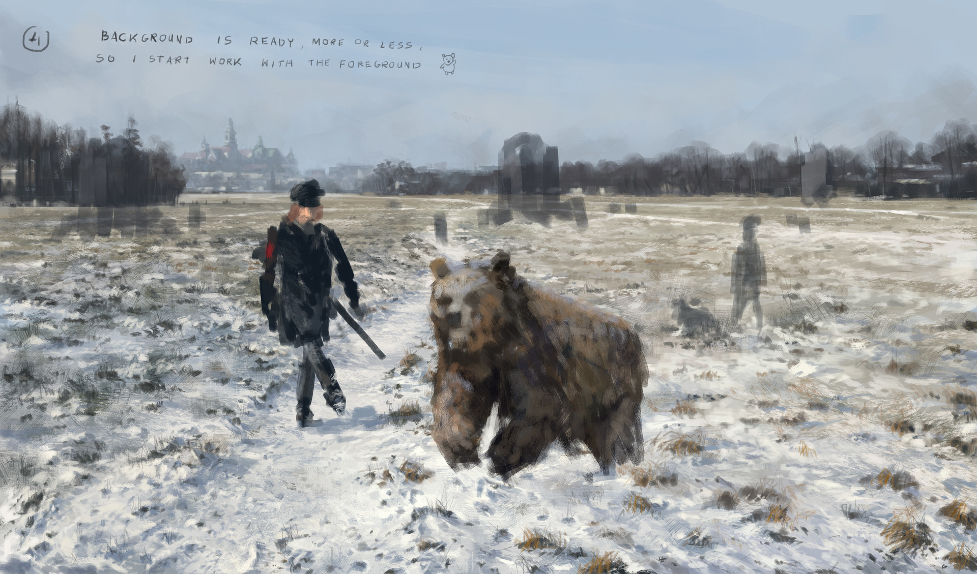 Jakub rozalski 1920 first snow blonie process04