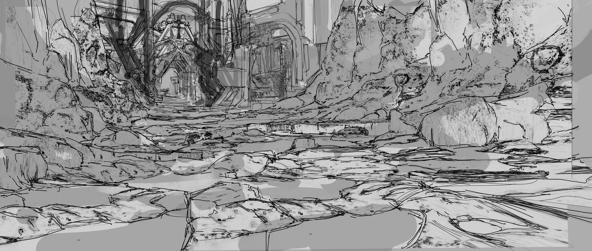 Wojciech bajor catcholics beach entrance line art v2