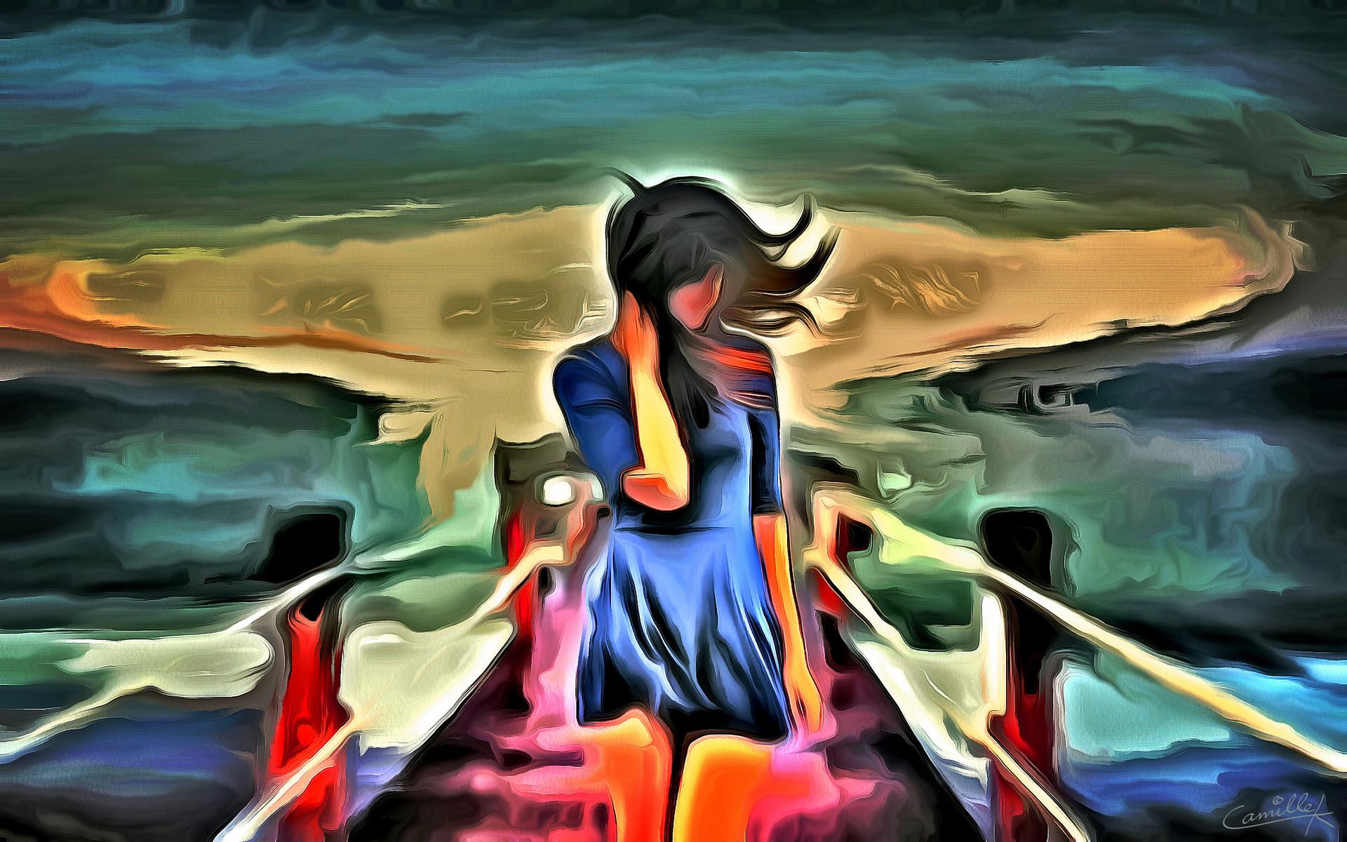 Girl Alone Art Painting