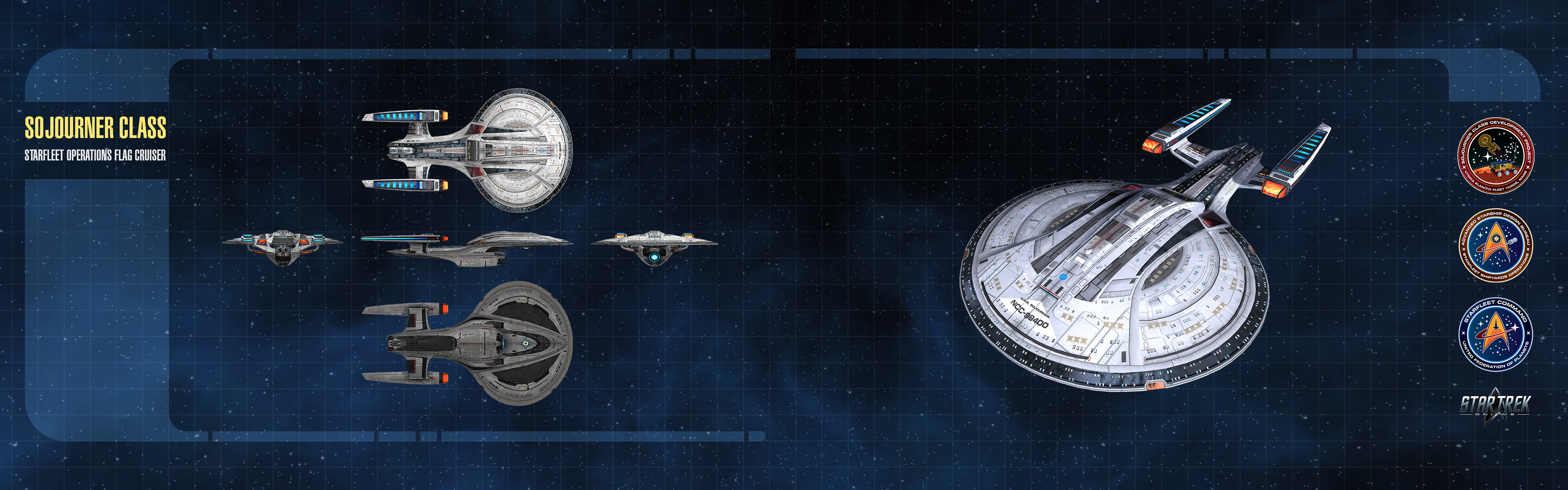 Orthographic Wallpaper. I also created the various Starfleet emblems on the right.