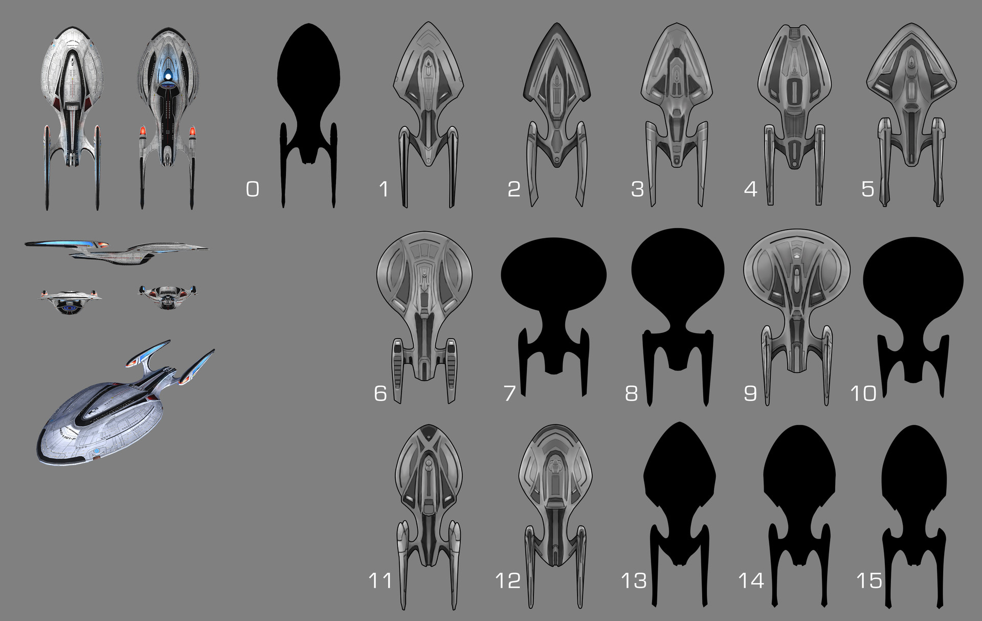 As I was responsible for modeling all three versions of these flagships, I started by sketching several silhouettes and variations. Ultimately the final designs mixed and matched various elements for each ship.