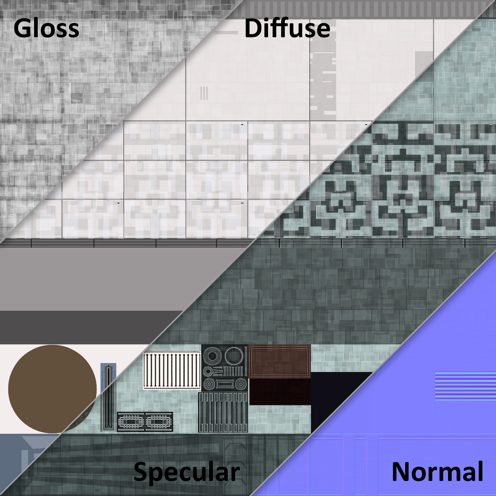 Material cross-section. Star Trek Online uses a material system where every starship is unwrapped to the same UV template, meaning we build most detail into the geometry and map those parts to appropriate sections on the material template.