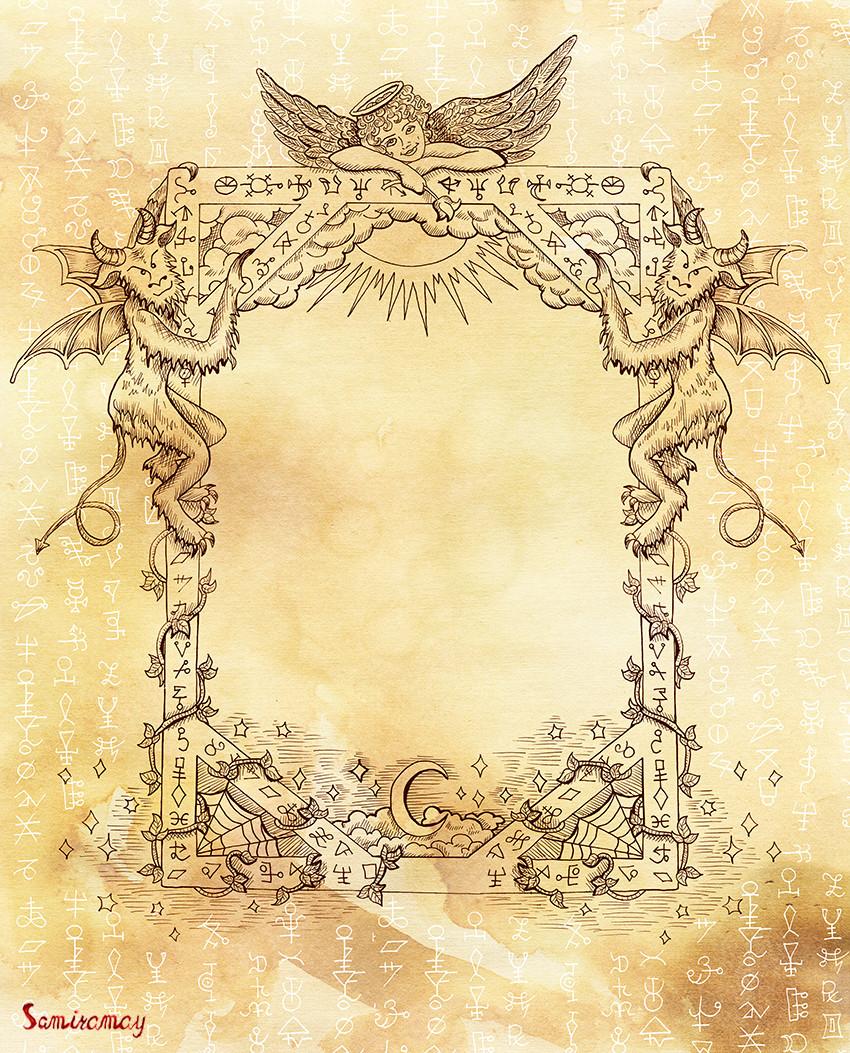 ArtStation - Fantasy gothic frame with angel and demons, Vera Petruk ...
