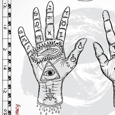 Vera petruk samiramay 4 chiromancy chart with hands and lines