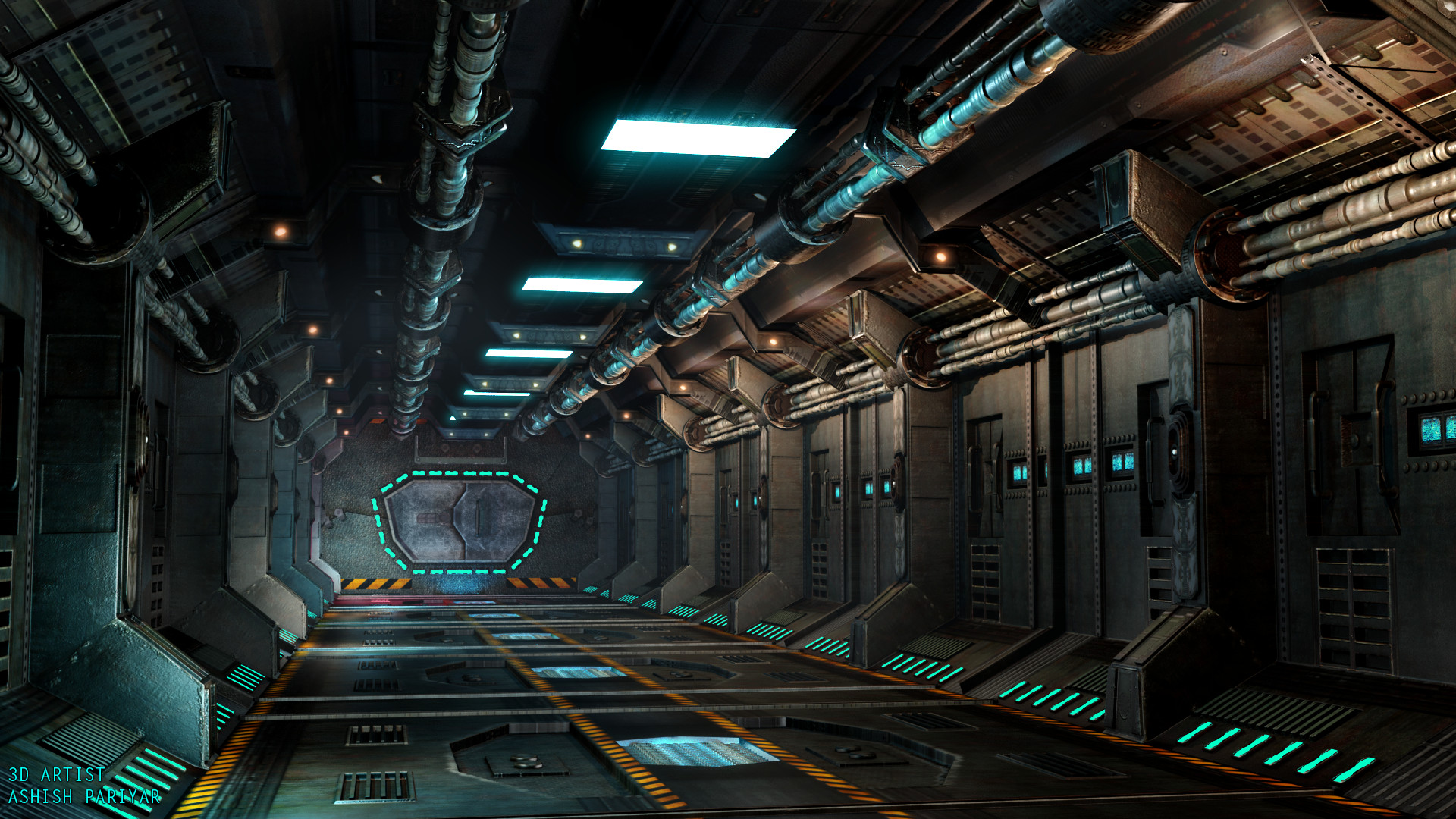 ArtStation - Sci Fi 3d Environment Hall by Ashish Pariyar