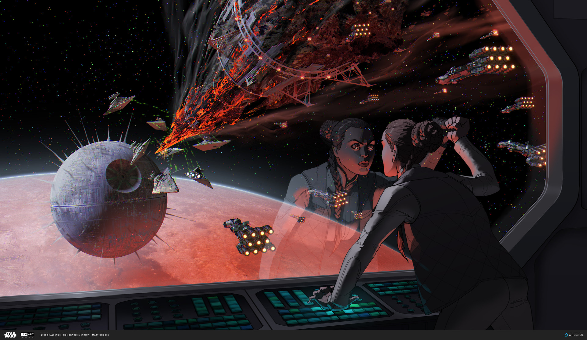 """""""The Revenge of Alderaan""""  Trench runs and exhaust ports are great, but I wanted to explore a more blunt, emotional statement. The Rebels recovered the largest remaining piece of Alderaan, and they're going to punch a revenge-hole."""