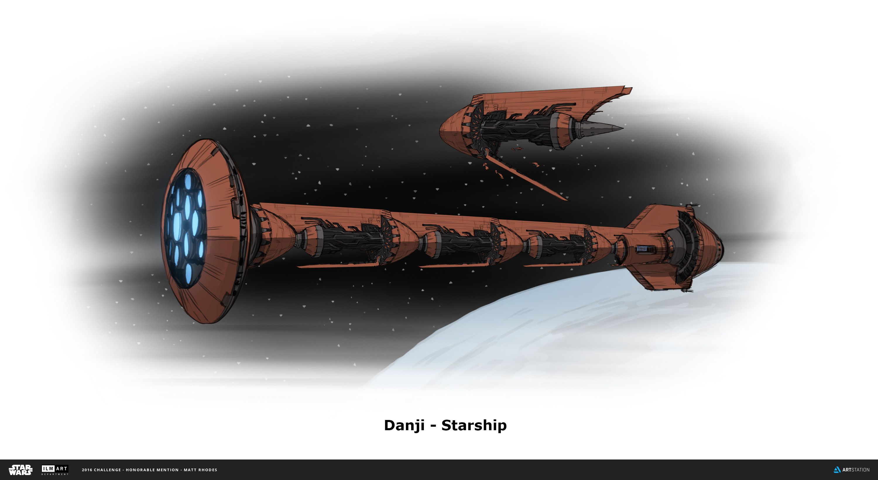 The Starship is made up of Carrier ships, with a head and propulsion at the front and back. It's like a contained fleet, able to house as many Carriers as needed. This shape is meant to reflect a Hookah on its side.