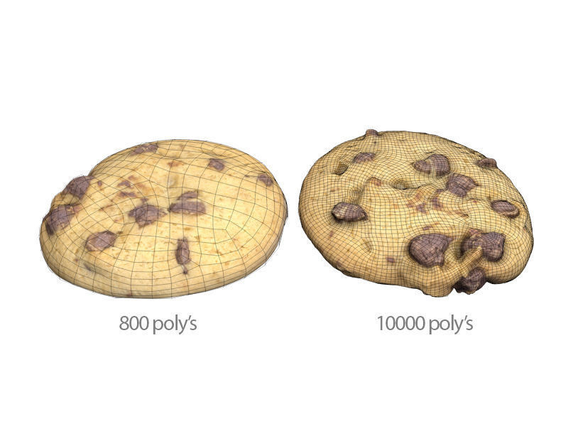 Carlos faustino choc chip cookie low and high poly 3d model obj fbx c4d mtl 077956f2 6843 4e23 8d04 b3be0683e495