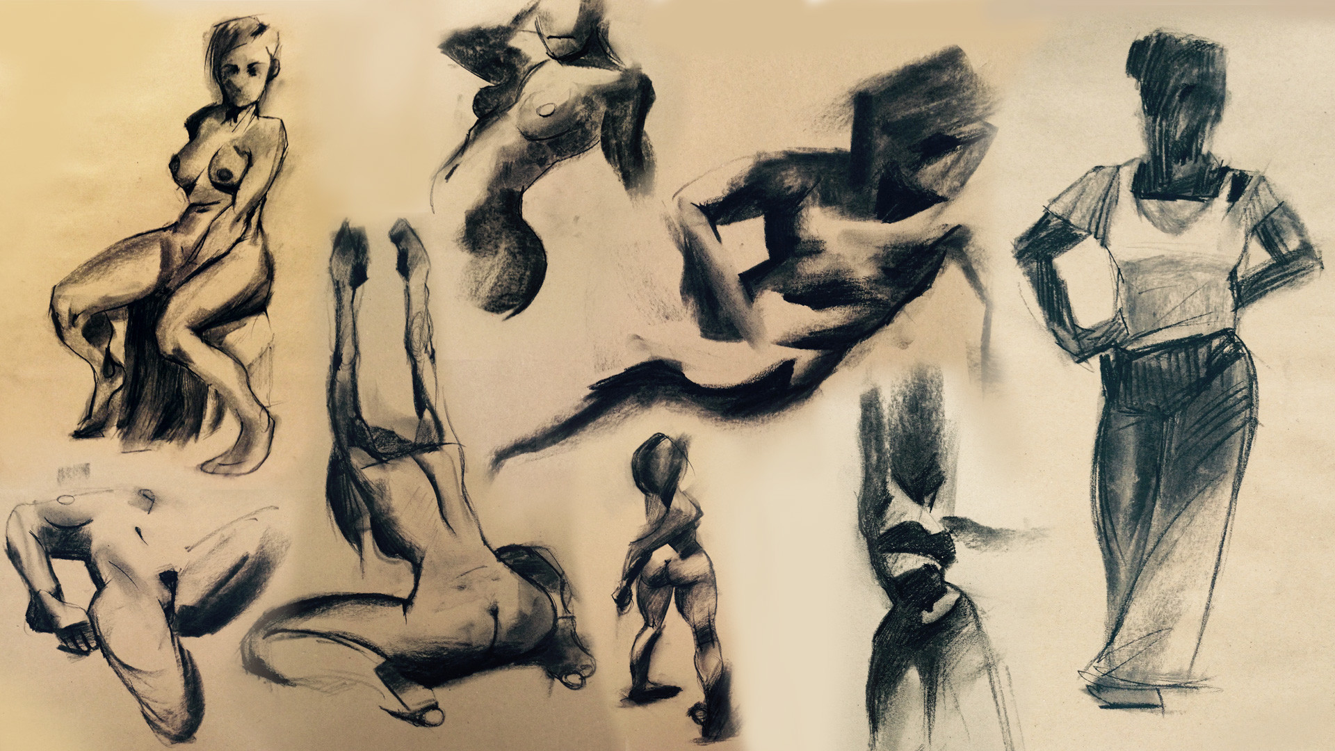 Croquis with Charcoal.